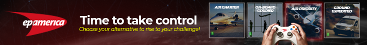 Two hands hold a videogame control. On the screen, there are four options of Time Critical Cargo Solutions (Air charter, on-board courier, air priority and ground expedited) and it's written: Time to take control, choose you alternative to rise to your challenge! And the EP America logo.