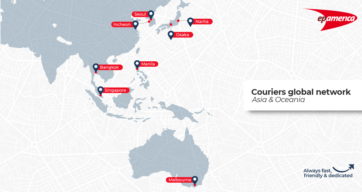 A map with all the cities in Asia and Oceania where we have couriers ready to go on a mission. Please contact us to know if we can design a tailor-made plan for your logistics needs.
