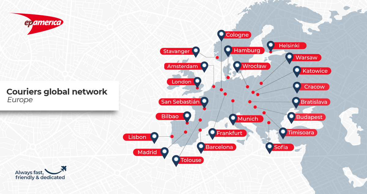 A map with all the cities in Europe where we have couriers ready to go on a mission. Please contact us to know if we can design a tailor-made plan for your logistics needs.