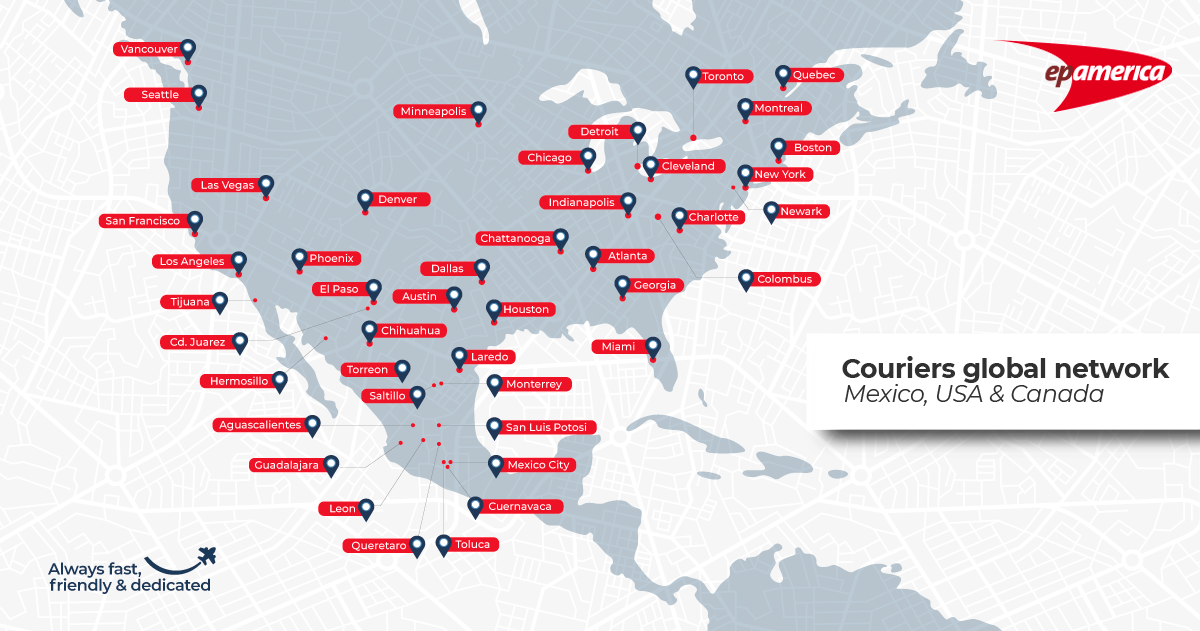 A map with all the cities in North America where we have couriers ready to go on a mission. Please contact us to know if we can design a tailor-made plan for your logistics needs.